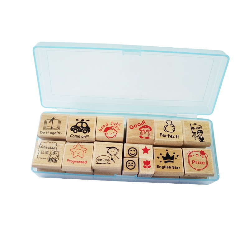 4 Sets/lot Praise Words Wooden Stamp Cartoon For Teacher Reviews Teachers Encourage Rubber Stam Gift Wholesale