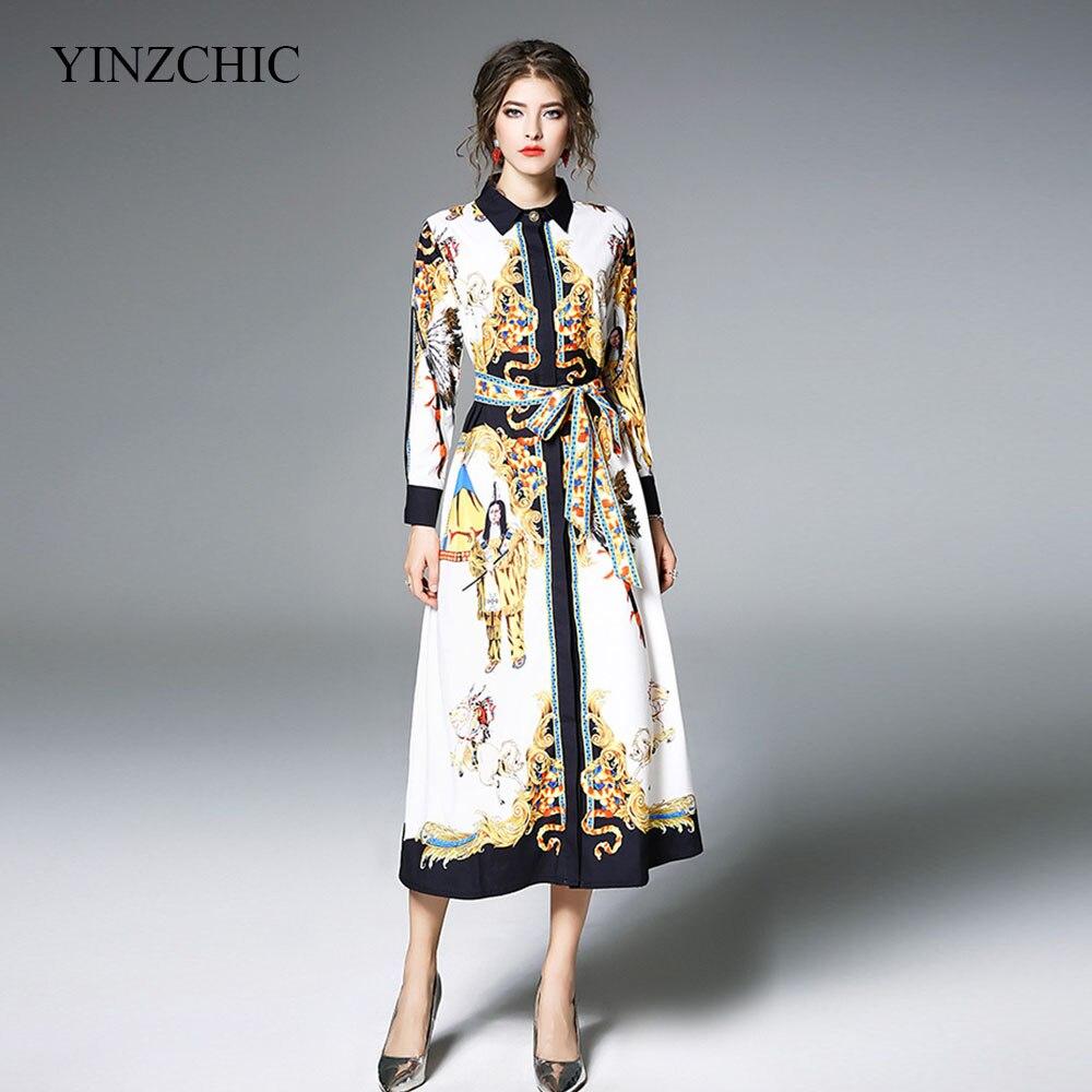 woman fashion spring new dress vintage printed straigt dress female casual midi dress turn down neck runway dress
