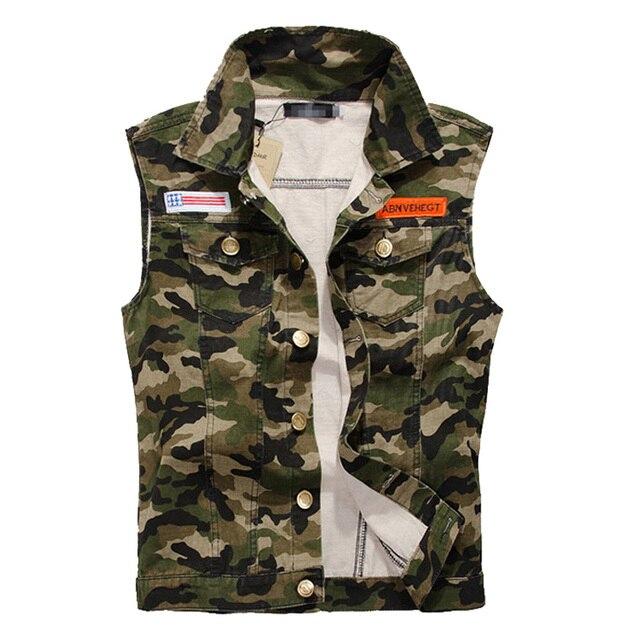 DIMUSI Men Denim Vest Vintage Sleeveless Washed Jeans Army Military waistcoat Man Cowboy Camouflage Jacket Plus Size 4XL,YA215