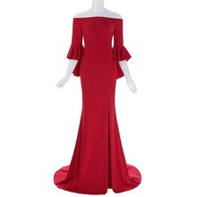 Grace Karin Red Evening Dress Ruffle Sleeves Off Shoulder Floor Length Evening Wear Party Gowns Elegant Formal Dress With Split