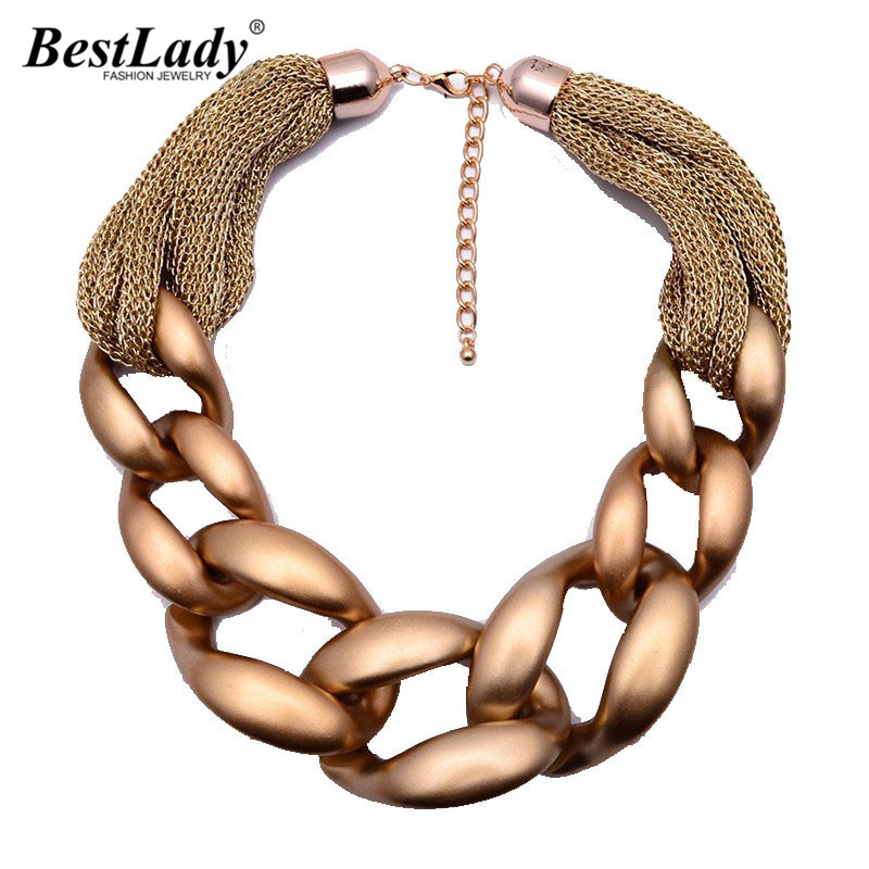 Best lady New European Style Wide Chain Necklace Braided Chain Necklace Choker For Women Girls Party Gift9704