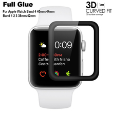 3D Full Glue Tempered Glass Film for Apple Watch Band 44mm 40mm Full Cover Screen Protector for i Watch Series 3 2 1 42mm 38mm 3d glass film 38mm 42mm real tempered glass screen protector for apple watch series 3 38mm 42mm free shipping original packaging