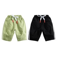 NewGreen Black Two Colors Solid Summer Children Boys Solid Print Short Pants Trousers Kids Knee Length Casual Baby Cotton Shorts