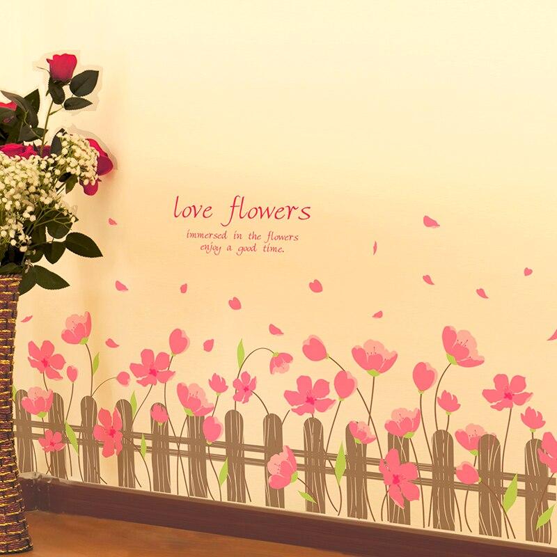 SHIJUEHEZI] Pink Color Peach Flowers Wall Sticker PVC Material Tree ...