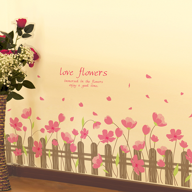 Pink Color Flowers Baseboard Stickers PVC Material Creative Wall Art ...