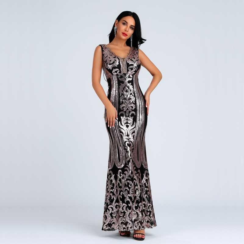 En gros 2019 été nouvelles femmes robe noir or paillettes mode luxueux célébrité Cocktail partie longue robe