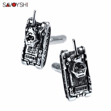 SAVOYSHI Fashion Tanks Cufflinks for Mens Shirt Cuff bottons high quality Novelty Paint Cufflinks Silver Brand Jewelry Wholesale