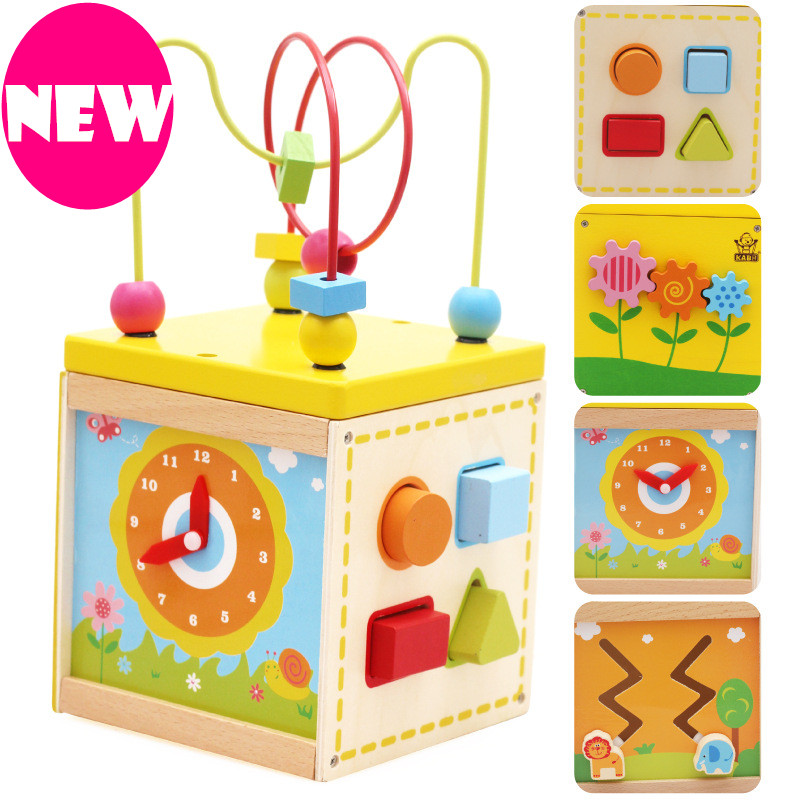 Baby Toys New Arrival Multifunctional Toys Gallery 5 In 1 Bead/Clock/Gear Mini Box Wooden Toys Infant Educational Birthday Gift ...