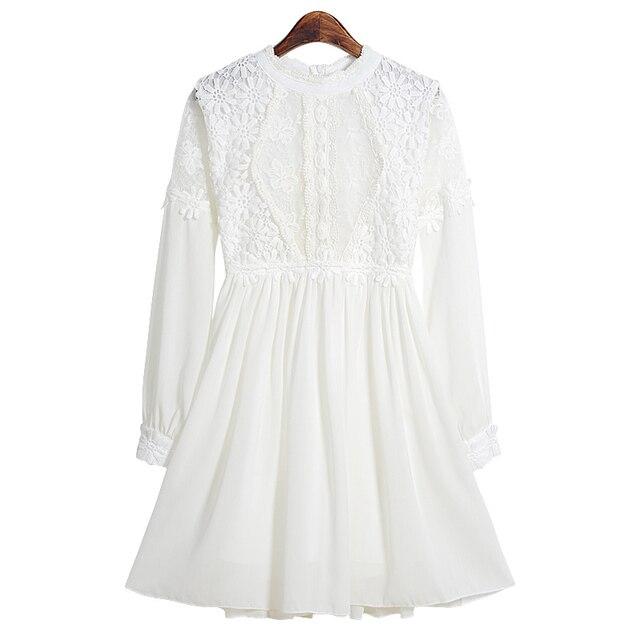 Vestidos mujer 2015 prief милые девушки мини-линия кружевном платье половины стоять воротник фонарь с длинным рукавом сплошной цвет лоскутные платья