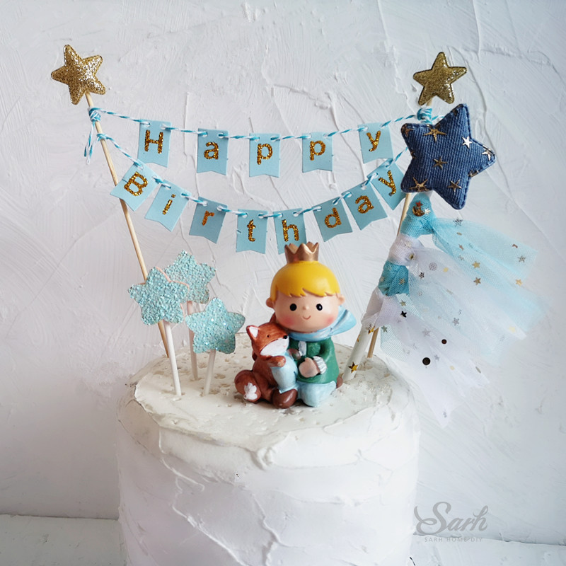 Gold Blue Star Heart Crown Yarn Happy Birthday Cake Topper For