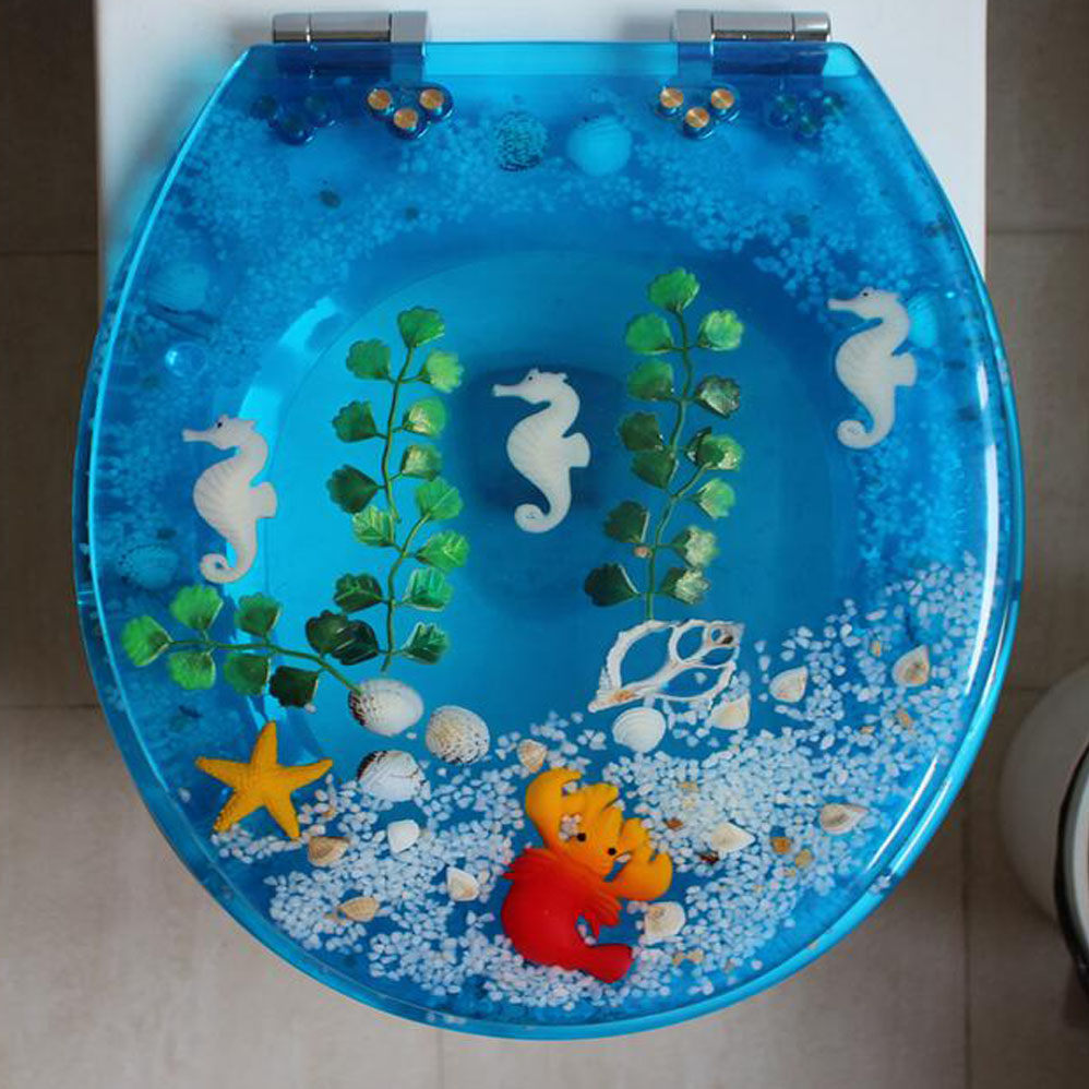 48*38CM High-grade Light blue beautiful Resin toilet seat cover ...