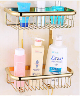 Top quality brass gold double tiers bathroom shelves with robe hook basket holder bathroom soap holder bath shampoo shelf top quality brass antique bronze double tiers bathroom shelves basket holder bathroom soap holder bathroom shampoo shelf