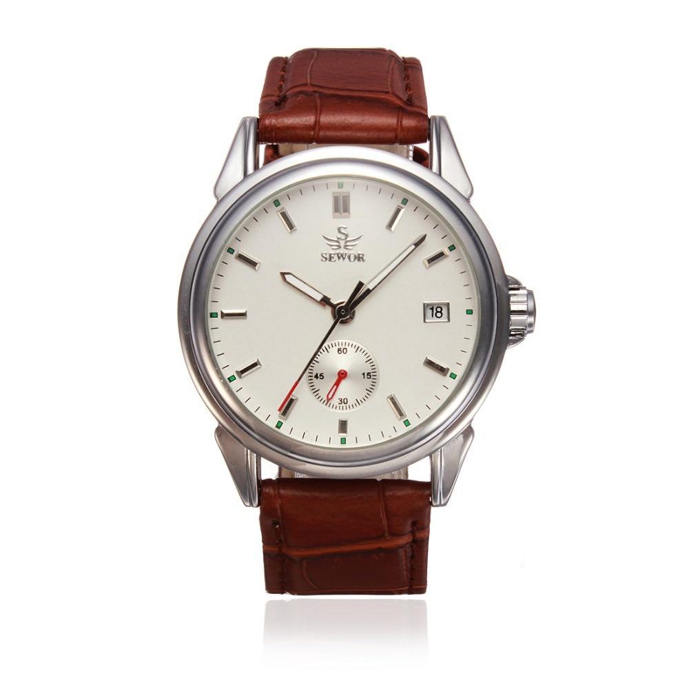 ФОТО SEWOR Mechanical Leather Simple Style Men Wrist Watch