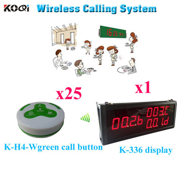 Paging Call System Restaurant Service Equipment Pager Portable Alarm Clocks Vibration ( 1pcs display+ 25pcs call button)