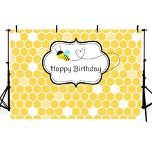 MEHOFOTO Happy 1st Bee Day Honeycomb Baby Birthday Party Cartoon Photography Backgrounds Photographic Backdrops for Photo Studio
