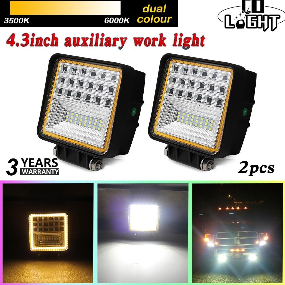 цена на COLIGHT 4.3 63W LED Work Light Flood Beam Driving Fog Lamp DRL for Indicator Offroad Boat Car Tractor Truck 4x4 SUV ATV 12V 24V