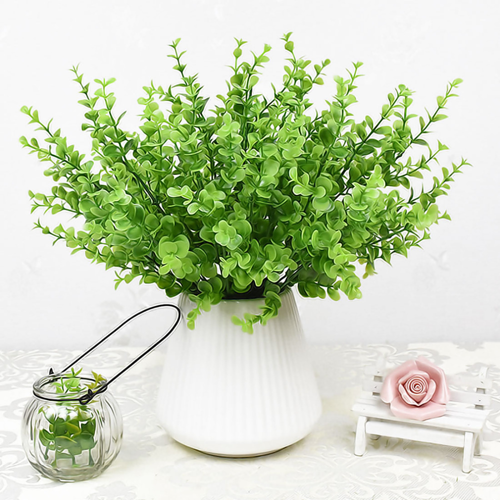 1Pcs=7 Branch Wedding Garden Artificial Green Plants Fake Home Furniture Decor Party Pla ...