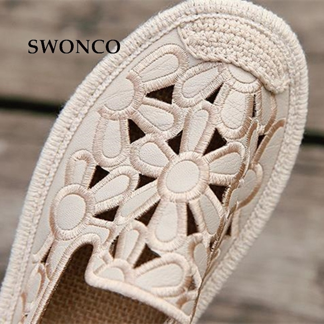 SWONCO Women's Flats Shoe Embroidery Fisherman Female Shoe 2018 Spring Summer Women Shoes Cut Out Hollow Out Casual Shoes 1