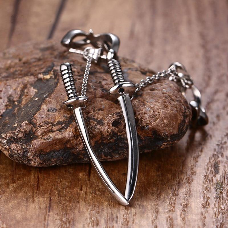 Japanese Samurai Scimitar Sword Stud Earrings for Men Small Vintage Stainless Steel Katana Ear Piercing Earing Punk Jewelry ...