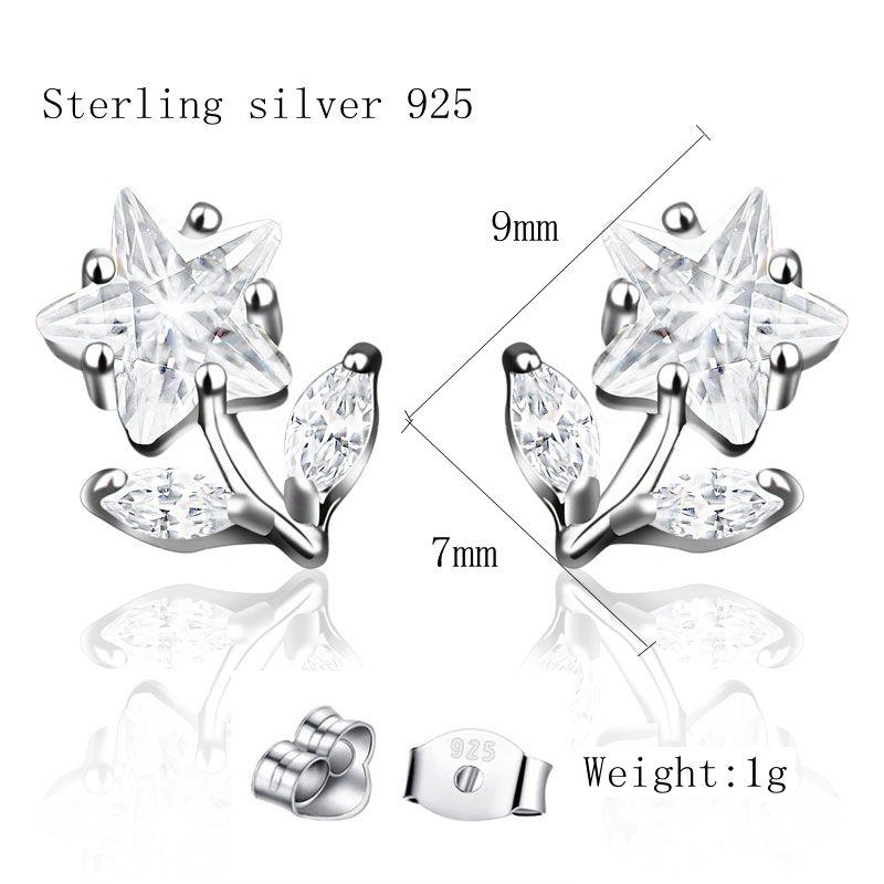 CHUKUI Genuine Silver 925 Jewelry Women Real Pure 925 Sterling Silver Star Flower Earrings Crystal Zircon Stud Earing 925 (4)
