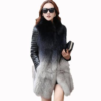 Пальто с натуральным мехом из натуральной кожи, корейское винтажное пальто из лисьего меха, пальто из овчины, осенне-зимняя куртка, женская ...