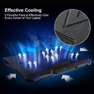 Image 2 - 14 17 inç notebook soğutucu dizüstü soğutma pedi laptop cooler fanı taban Para dizüstü Ventilador dizüstü soğutma standı beş güçlü fanlar