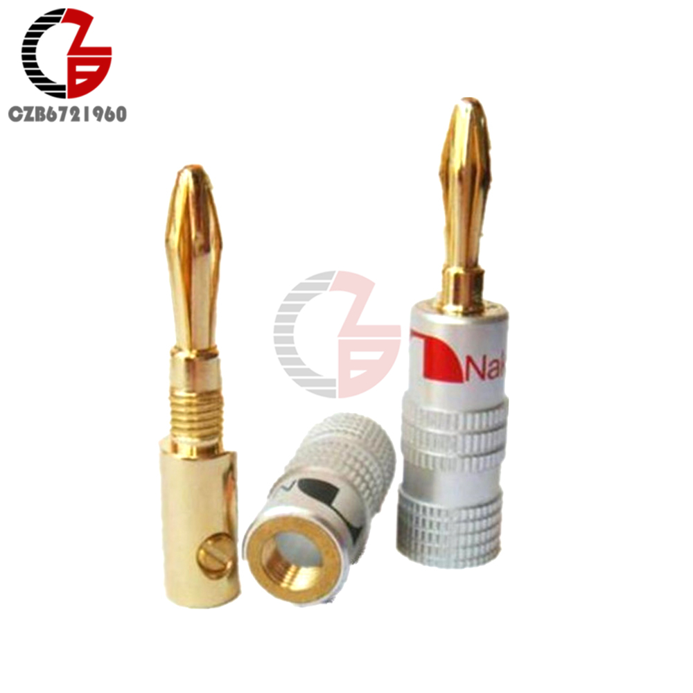 24K Gold Plated For Nakamichi Speaker Banana Plug Pure Copper Audio Jack Connector 30 pcs copper gold plated audio speaker binding post banana jack connectors high quality minijack plug wire connector