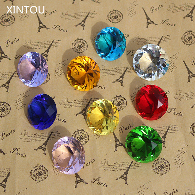 9pcs/set Sparkle Crystal Diamond 3cm Glass Gemstone Jewel Paperweight Feng Shui Home Decor Ornaments Wedding souvenirs Gifts 1