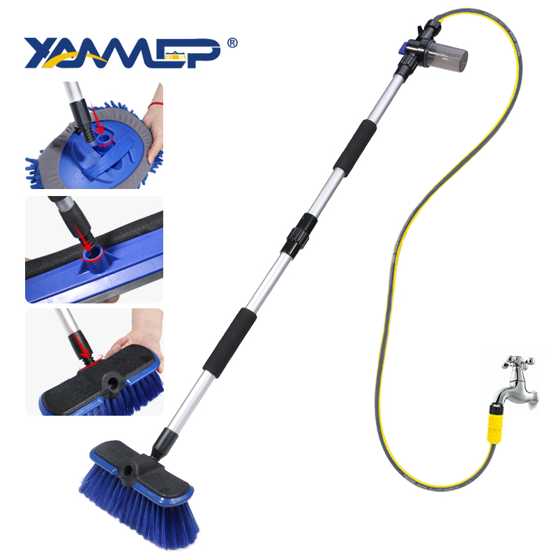 Car Wash Brush Cleaning Mop Chenille Broom Water Flow Windows Squeegee Long Handle Foam Bottle Car Accessories Xammep
