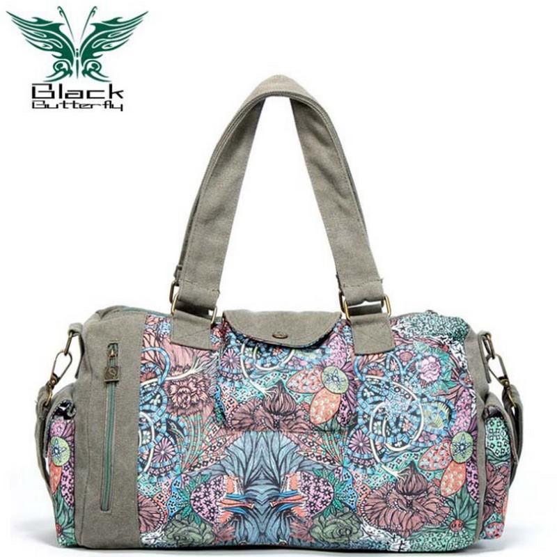 Black Butterfly original design Women handbag Bohemian ethnic style Printing shoulder Bag female travel bags ethnic style elephant print and black design shoulder bag for women