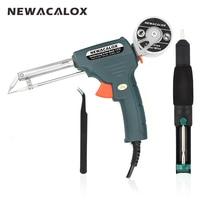 NEWACALOX 220V 60W EU Plug Hand Held Soldering Iron Gun Automatically Send Tin Automatic Soldering Machine