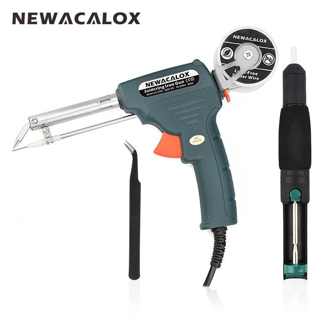 Newacalox 220 В 60 Вт ЕС Plug ручной паяльник пистолет автоматически отправлять олова автоматической пайки машины + всасывания олова устройства