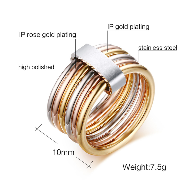 ROMAD Simple Multicolor Rings For Girls Stainless Steel Gold Rose Gold Color For Women Silver Trendy Jewelry Size 6 9 R3 in Rings from Jewelry Accessories