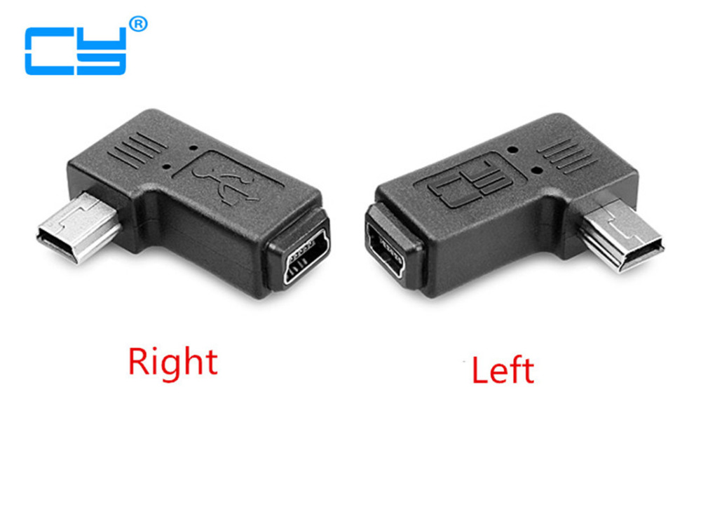 Mini USB elbow male to female 90 degree adapter Left and right angle Mini USB 5pin Extended adapter 1 pcs 90 degree right angle direction usb tpye a 5pin right angle micro b male to male adapter data sync charge cable cord