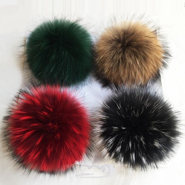 3bc03725105 14cm Fluffy Real Fur Pom poms For knitted Skullies Beanies Caps Hot Winter  Hairy Ball For Knit Hats Key Chain Clothes Xmas Gift