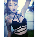 Black Elastic Cage Harness Bra Inspired Bondage Crop Top Sexy Body harness Gothic Fetish Skirt Dress costume Halloween Rave Wear