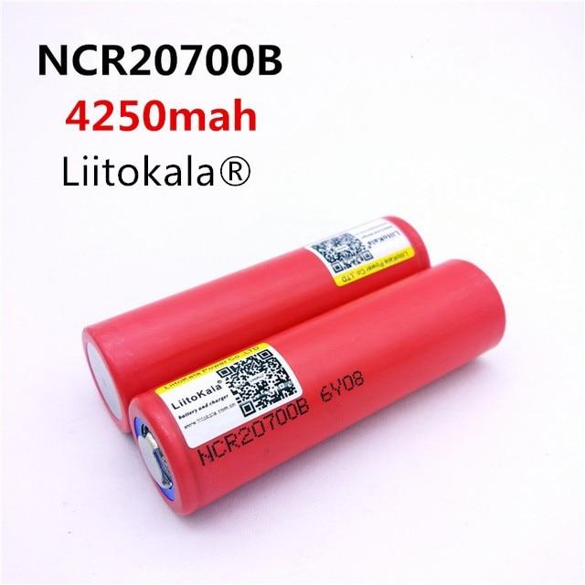2pcs / Lot Liitokala  20700B 20700 4250mAh Battery NCR20700B High Rate Battery 20A 20700