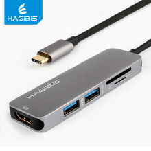Hagibis Type-C USB 3.1 Multiport Adapter USB-C to HDMI 4K HD USB 3.0 Hub 2-Port SD TF Card Reader Converter Cable for Macbook