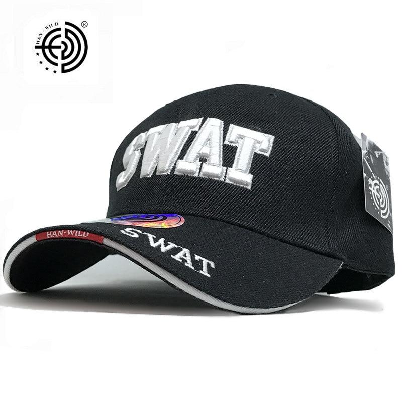Prix pour [HAN SAUVAGE] marque Nouvelle Vente Chaude SWAT Caps USA Noir Tactique Casquette de baseball Hommes Femmes Gorras Snapback SWAT Caps HANWILD Dropshipping