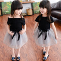 Toddler Girl Clothing Summer 2016 New Black T shirt + Gray Color Tulle Skirt Baby Kids Suits 2 pcs children Clothing Girls Set