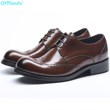 цены New Round Toe Genuine Cow Leather Brogue Men Shoes High Quality Oxfords Dress Shoes Black Brown Lace-up Business Shoes
