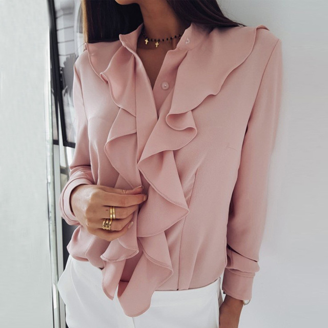 Fanbety Women Sexy V-Neck Ruffles Blouse Shirt Elegant Office lady Solid Chiffon Blouses Summer Long Sleeve Blusa Tops S-XXL