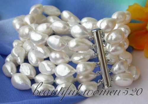 Z2836 6row 15mm baroque white fw pearl bracelet magnet