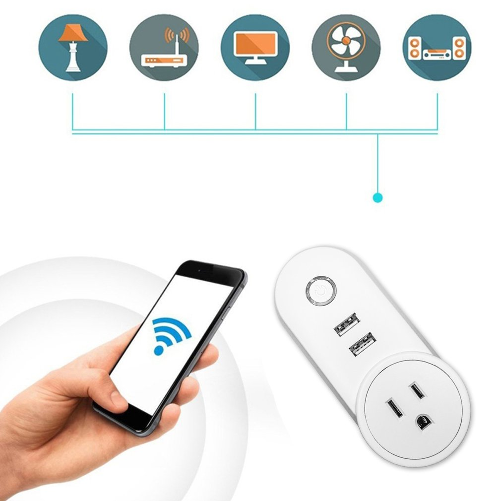 220V Remote Control Outlet WiFi Smart Socket Wireless Timer Adaptor With USB Ports control by spoken command enjoy smart home lego education 9656 образовательное решение первые механизмы