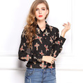 2016 Spring Autumn Women Blouse Printed Long-sleeved Chiffon Shirts Vintage Black Cross Slim Lapel Blusa Multicolor Tops LQ23