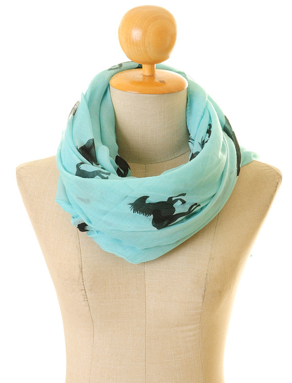 Blue Voile Horse Infinity   Scarf   Summer Shawl Loop Circle Hijab   Scarves     Wraps