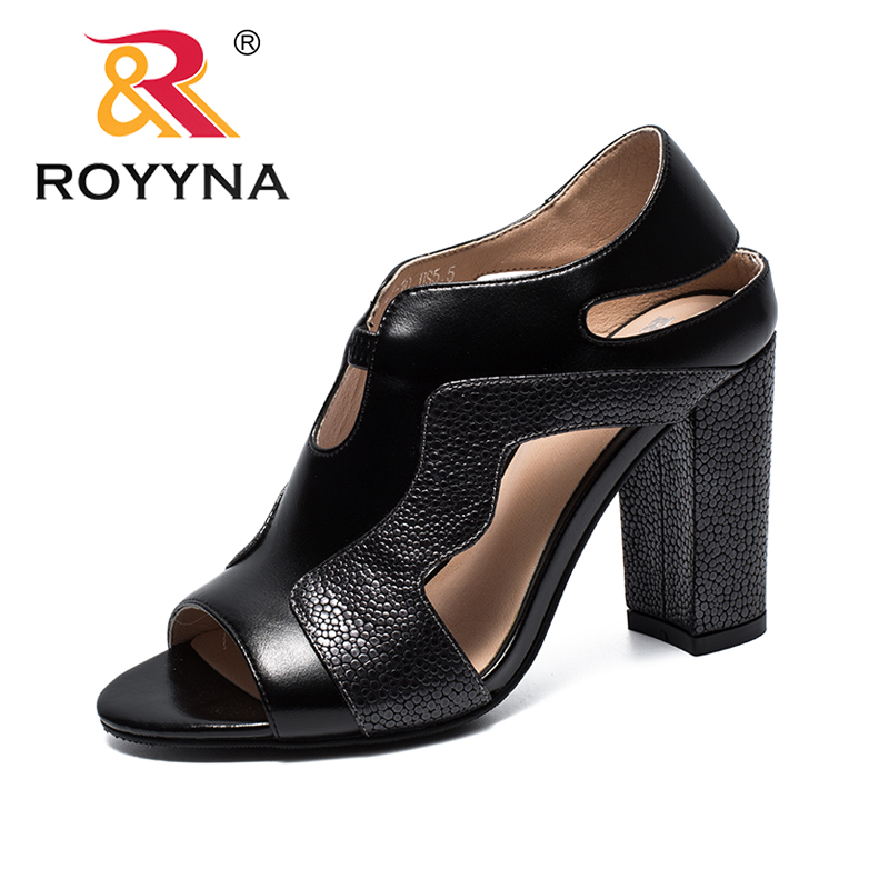 ROYYNA New Leisure Style Women Sandals High Square Heels Femme Summer Shoes Open Toe Wear-Resistant Comfortable Free Shipping royyna new sweet style women sandals cover heel summer gingham women shoes casual gladiator ladies shoes soft fast free shipping