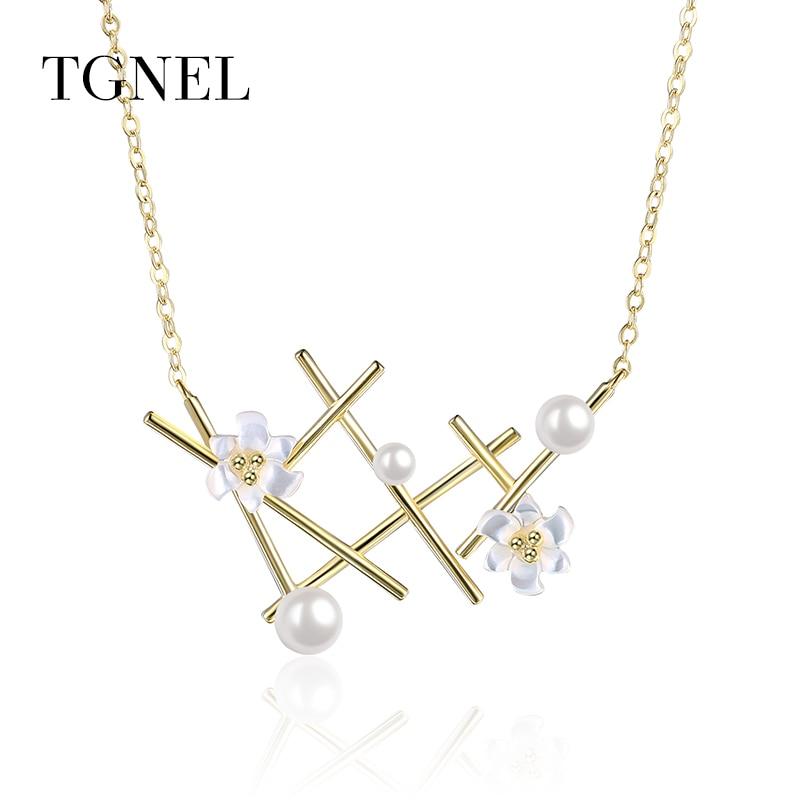 TGNEL S925 ezüst nyaklánc medál arany színű finom ékszer virág - Finom ékszerek