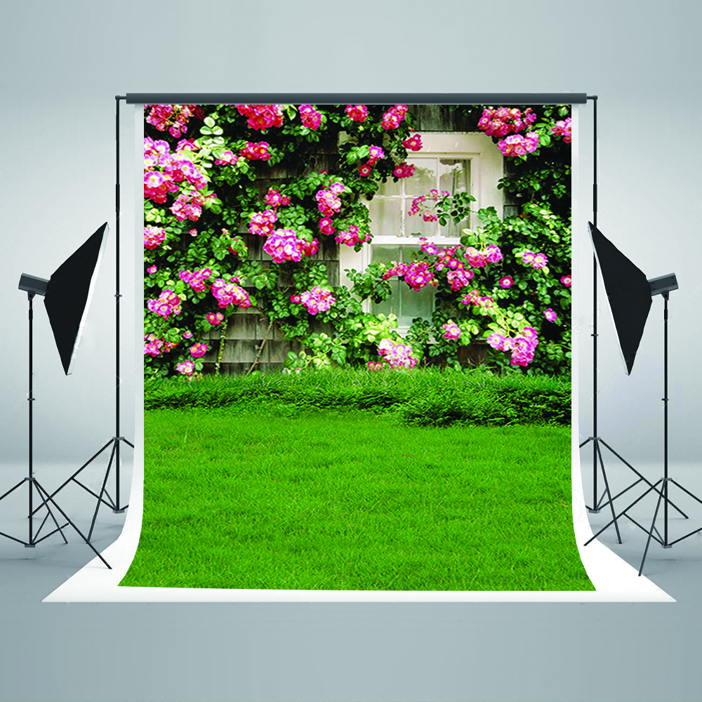 Valentine's Day Photography Backdrops Pink Flower Windows Digital Printing Background Green Meadow Backgrounds for Photography