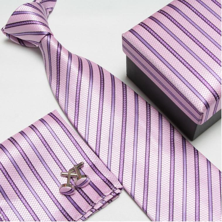 Мужская мода высокого качества набор галстуков галстуки запонки шелковые галстуки Запонки Карманный платок - Цвет: 20